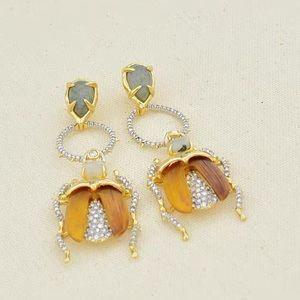 Brand new Alexis Bittar crystal beetle earrings